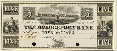 Bridgeport Bank $5 Audubon Running Grouse Vignette Note
