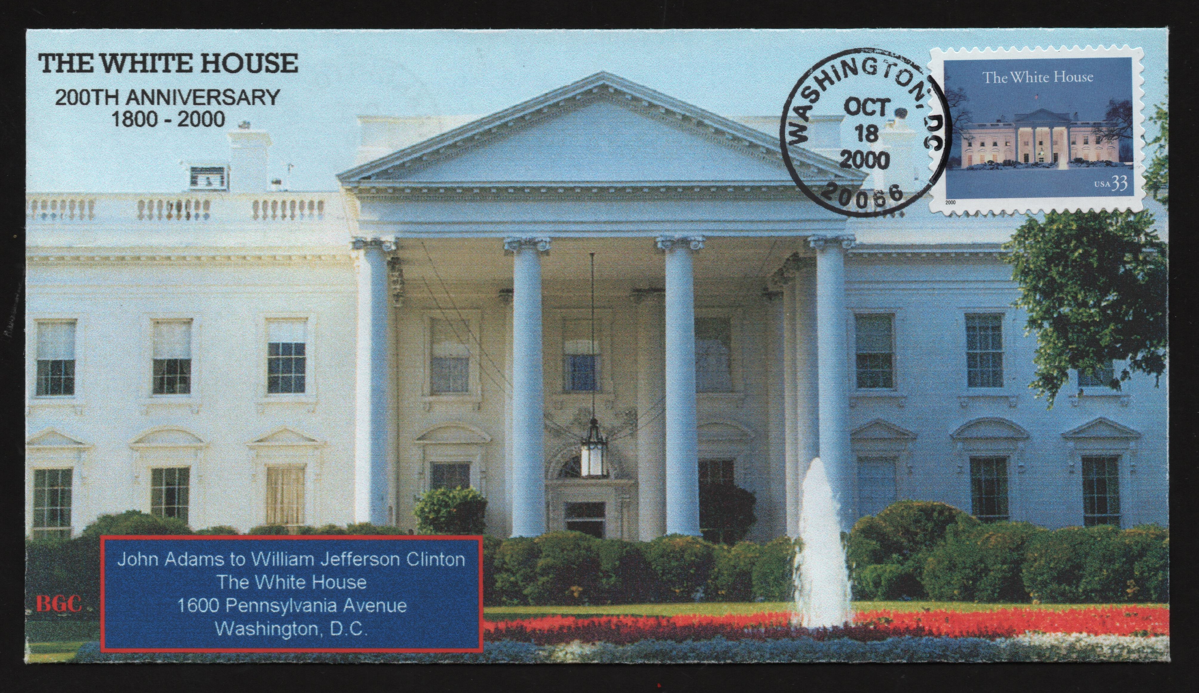 United States - Scott #3445 (2000) first day cover; front of the envelope features the north portal of the White House in Washington, D.C.