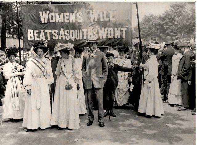 WSPU procession - Emmeline Pethick-Lawrence, Mabel Tuke and Israel Zangwill. Credit: LSE Library