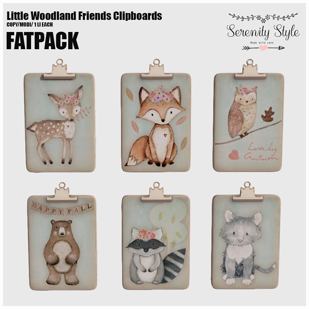 Serenity Style-Little Woodland Friends Clipboards