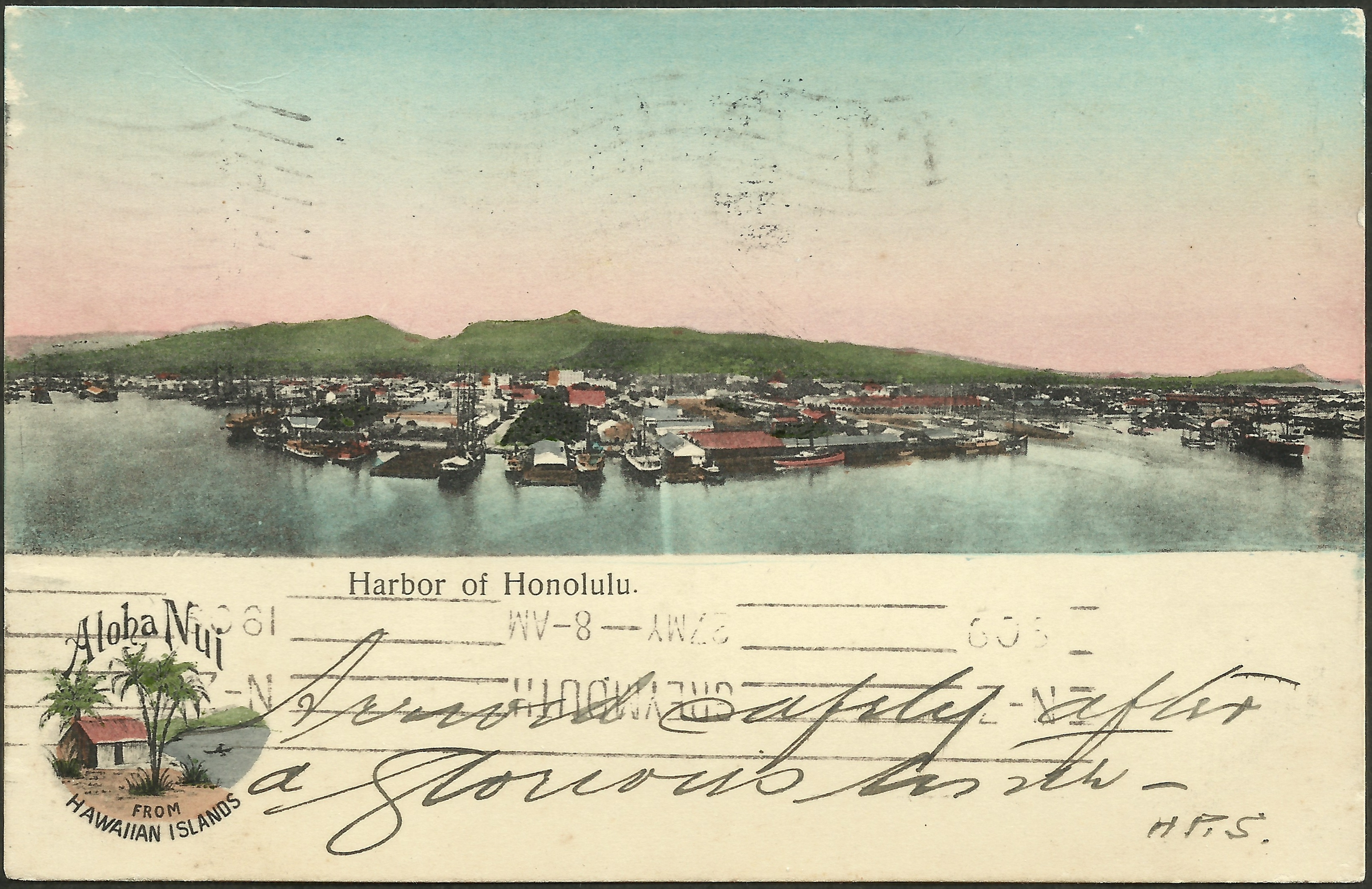 View of Honolulu, Hawaii, on postcard mailed April 27, 1909