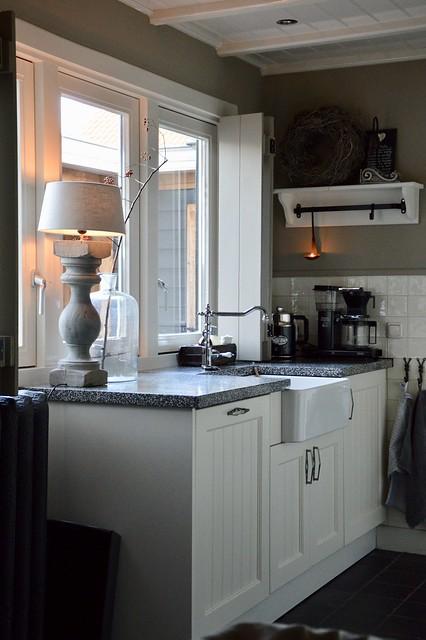 Landelijke keuken balusterlamp fles met tak