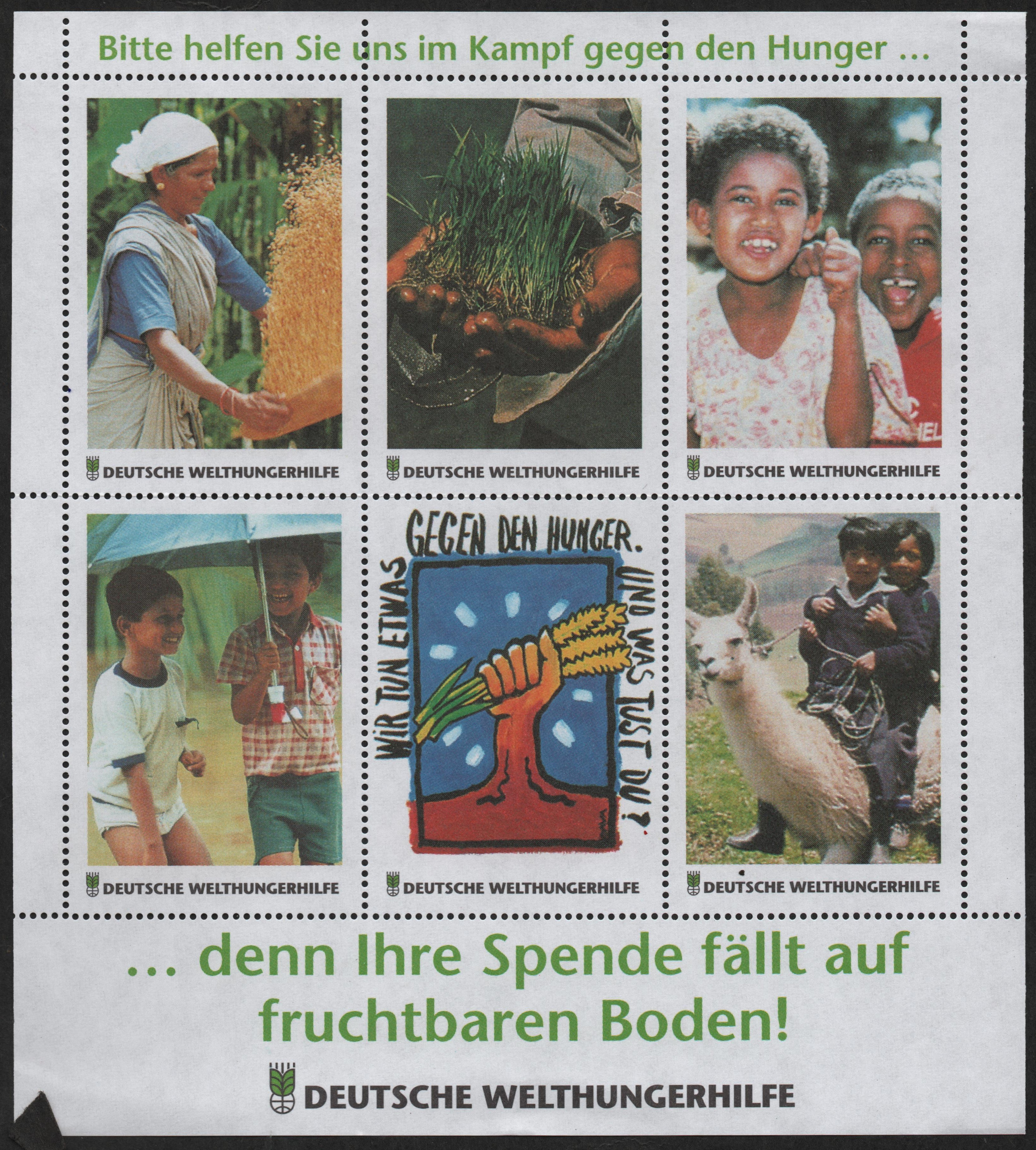 Charity seals distributed by Deutsche Welthungerhilfe to campaign against hunger. The German inscription translates to