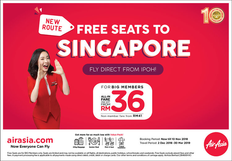 AirAsia Offer Tiket PERCUMA dari Ipoh - Singapura