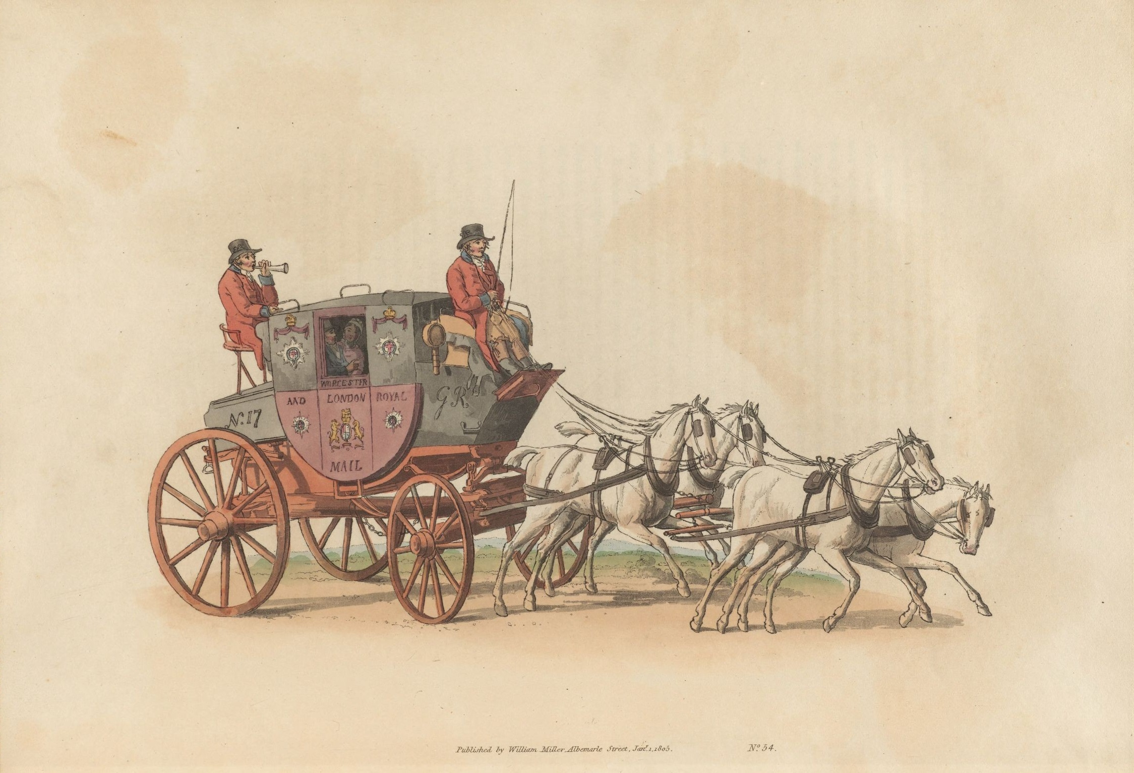 Mail coach decorated in the black and maroon Post Office livery. : Illustration from 'The Costume of Great Britain', 1808 (originally issued 1804), written and engraved by William Henry Pyne (1769-1843).