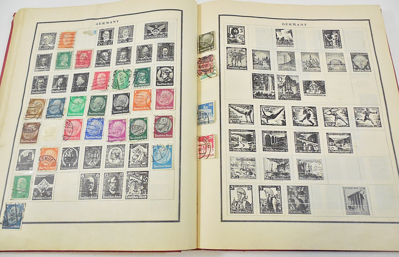 Scott Modern Postage Stamp Album, 1942 edition - virtually identical to my first two albums (which were the 1935 and 1938 editions). Images sourced from current eBay auctions.