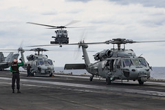An MH-60R Sea Hawk assigned to Helicopter Maritime Strike Squadron (HSM) 77 lands on the flight deck of USS Ronald Reagan (CVN 76) during Keen Sword. (U.S. Navy/MC2 Brandon Martin)