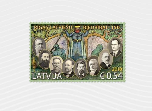 Pastmarka Rīgas Latviešu biedrībai - 150