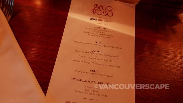 Bacio Rosso menu
