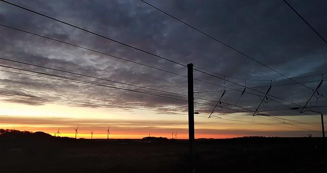 Railway Overhead Sunrise - West Chevington (P)