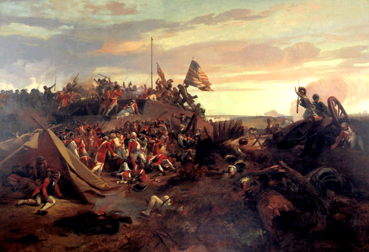 American storming of redoubt #10 during the Siege of Yorktown by Eugene Lami, 1840.