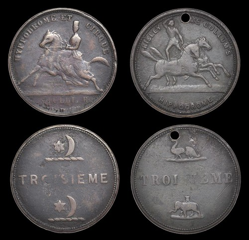 Risley and McCollum Hippodrome circus tokens