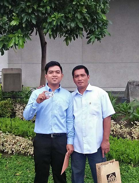 Carlo with his father after the oath taking ceremony