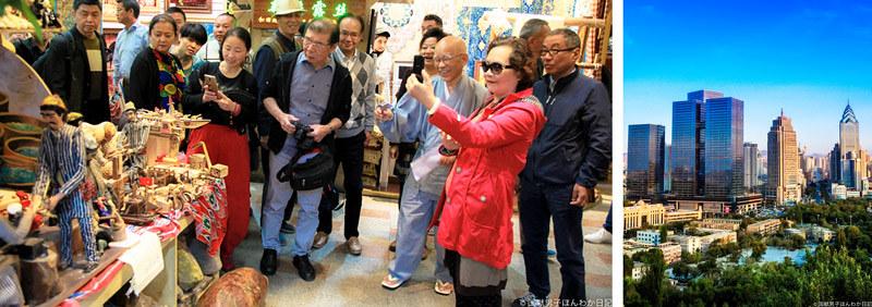 中国人観光客が押し寄せている国際バザール・高層ビル群
