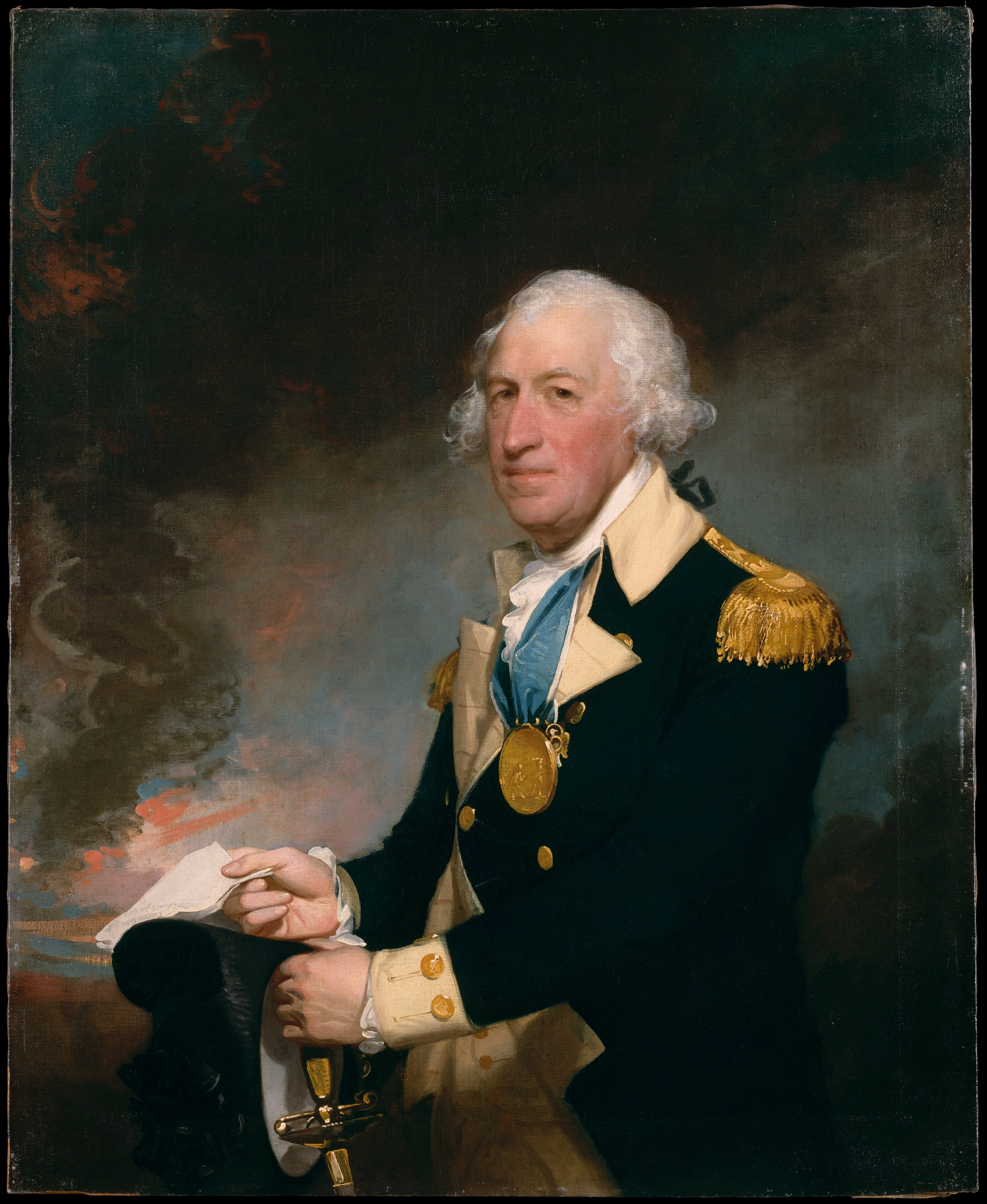Oil painting of Continental Army General Horatio Gates by Gilbert Stuart, circa 1793-1793. Currently at the Metropolitan Museum of Art, New York City.