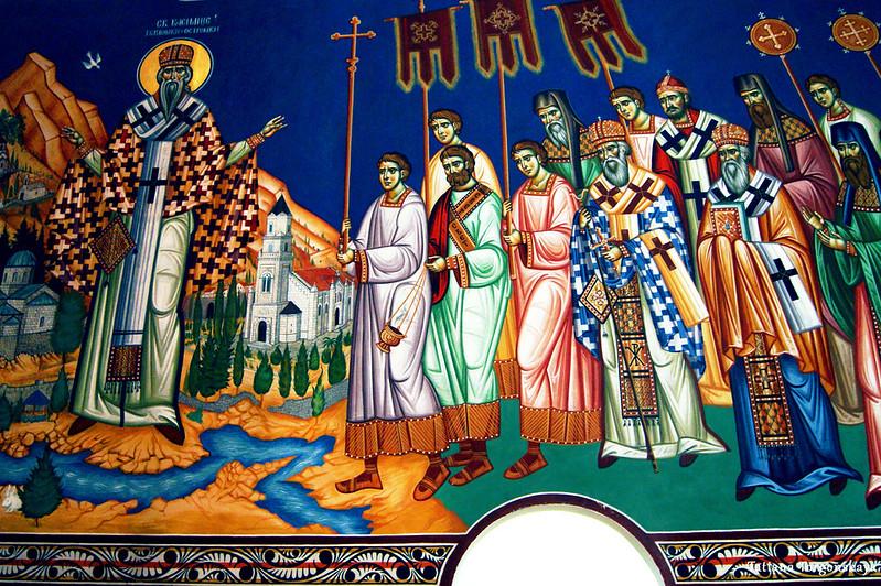 Сцена с Св. Василием Тврдошским и Острожским на стене собора