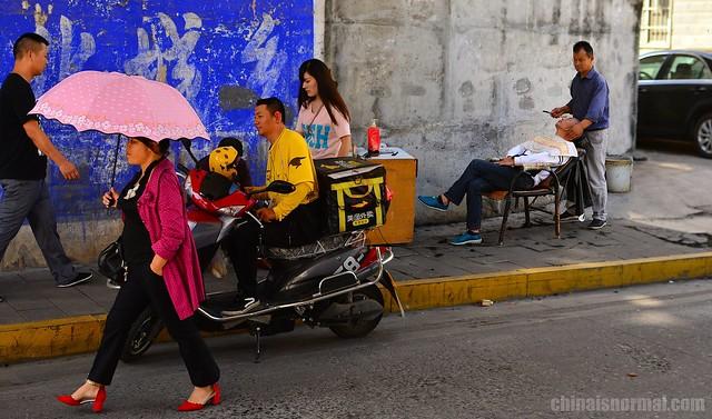 Street Barber Scene