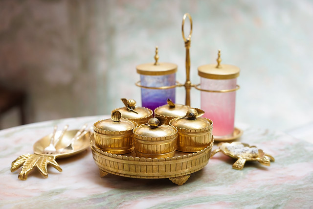 Dessert set. A set of dessert in luxury brass containers serve with colorful italian soda drinks (rose lychee italian soda and honey lemon blue butterfly pea italian soda)