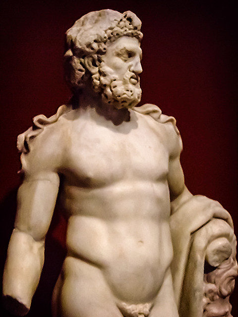 Herakles (Hercules) Roman 100-200 CE Marble with traces of pigment