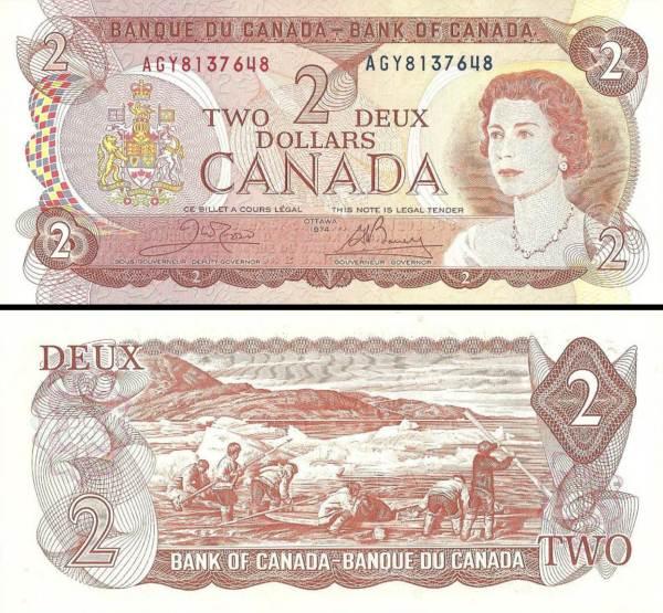 2 Doláre Kanada 1974, P86b