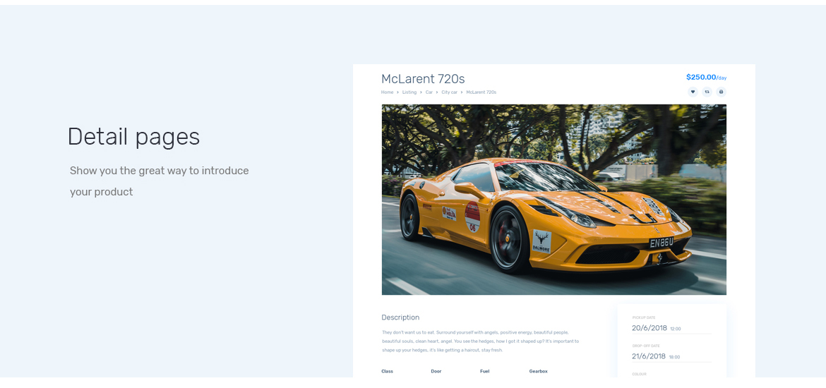 detail page-Leo Rent Car Prestashop 1.7 theme-free support