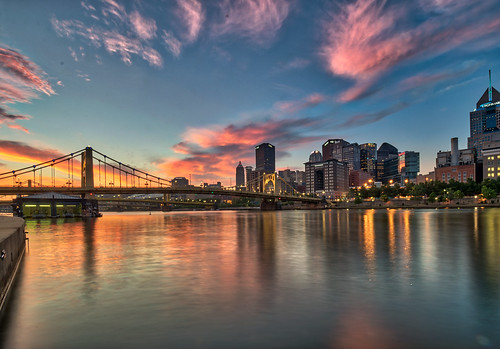 alleghenyriver andywarholbridge hdr nikon nikond5300 outdoor pennsylvania pittsburgh bridge city cityscape clouds downtown geotagged lights longexposure morning reflection reflections river sky skyscraper skyscrapers sunrise water unitedstates