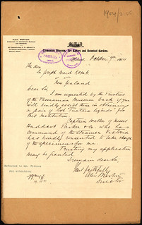 Tasmanian Museum request for importing Tuatara (1904)