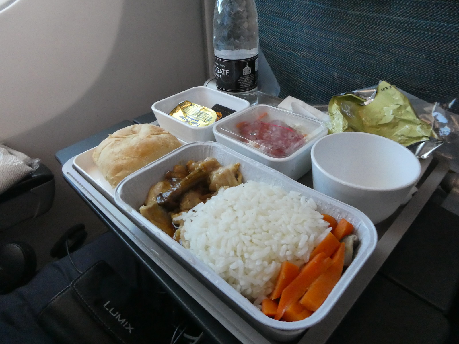 Lunch served on board our flight from Manchester to Hong Kong