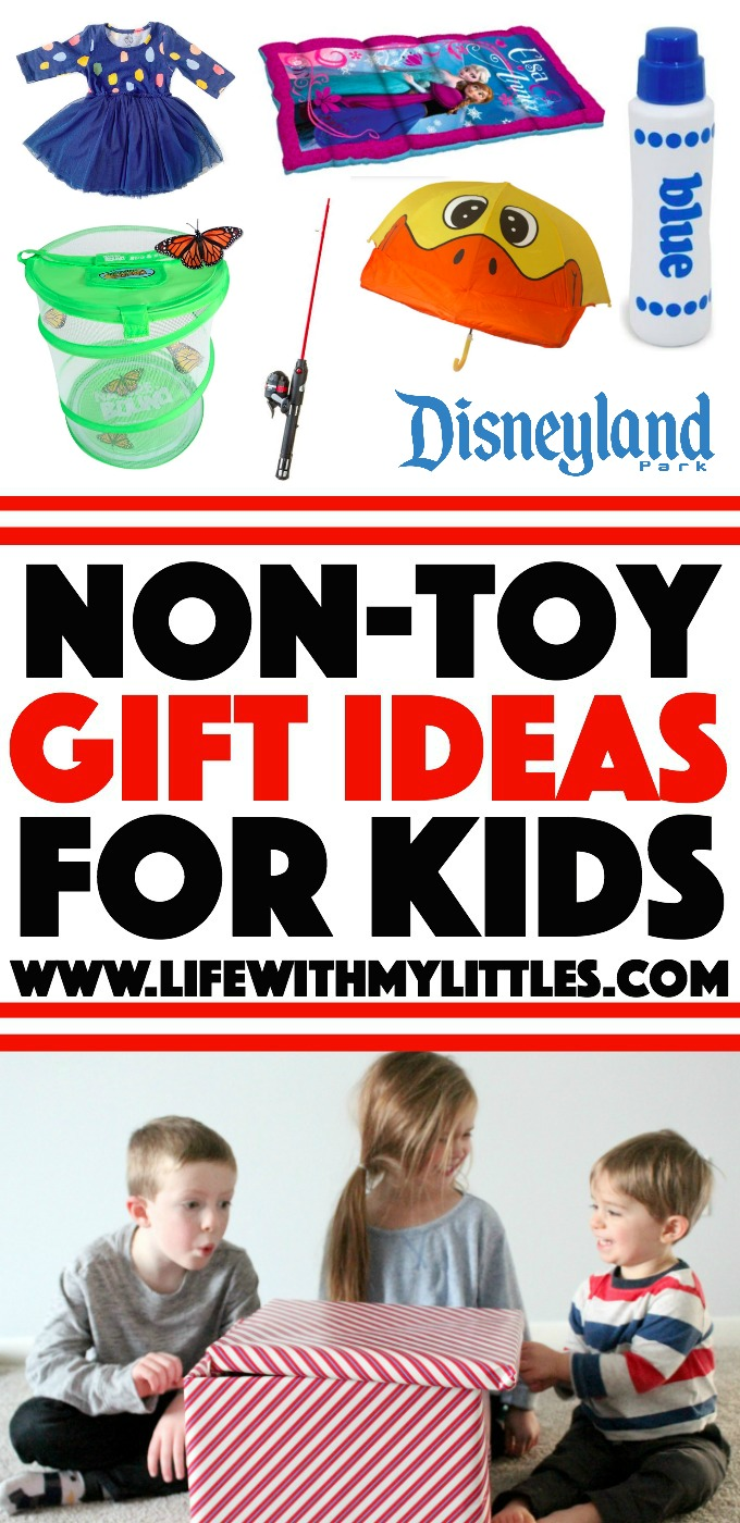 Tired of your kids getting toys for Christmas and only playing with them for a few weeks? Here's a great list of 24 non-toy gift ideas for kids to help you come up with ideas of what to get them! Send it to your family members so they'll be on board, too!