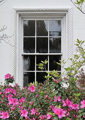 Window framed in rope design molding, the Edward L. Trenholm House (c.1850), 93 Rutledge Avenue, Charleston, SC