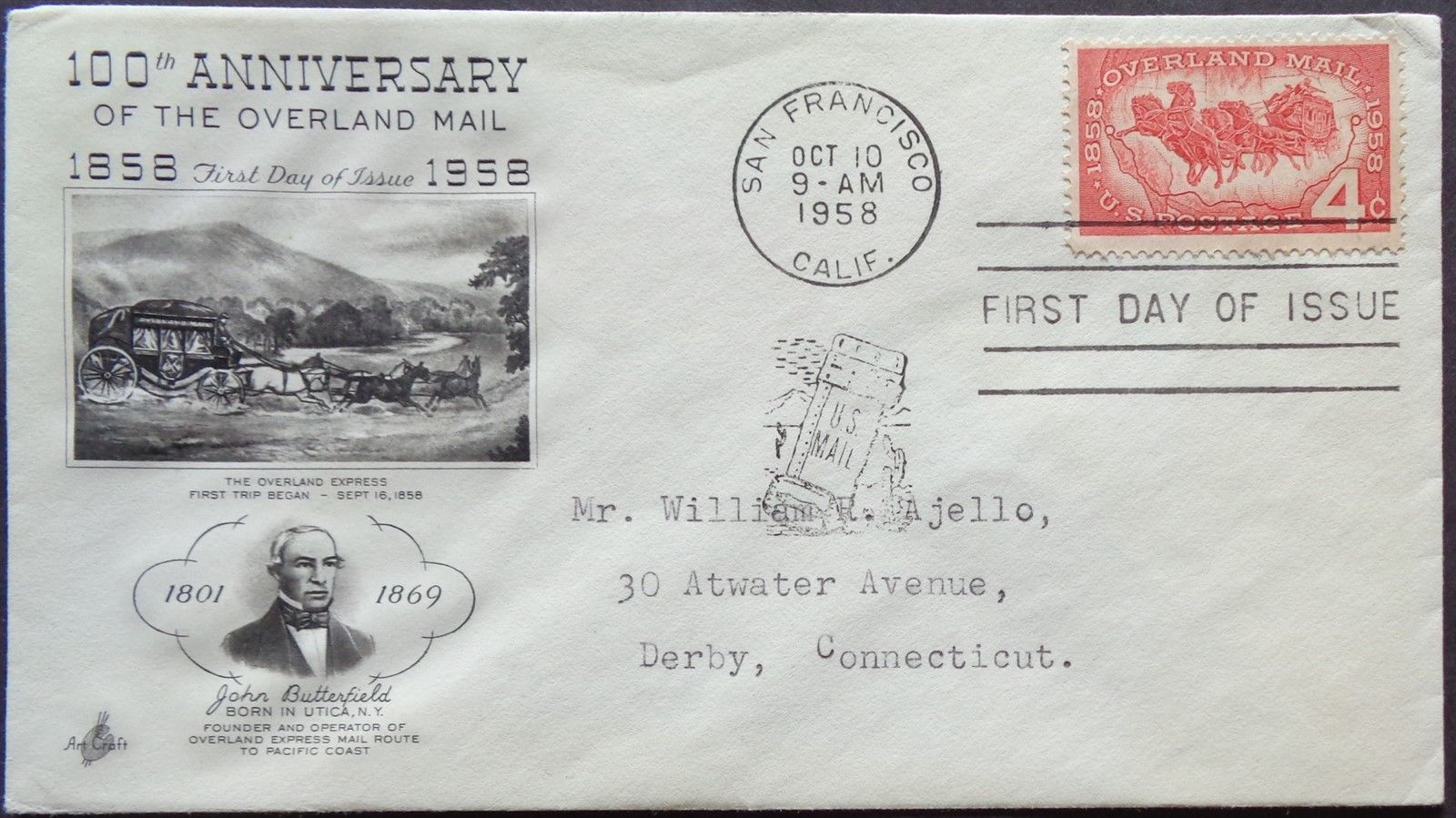United States - Scott #1120 (1958) first day cover with ArtCraft cachet
