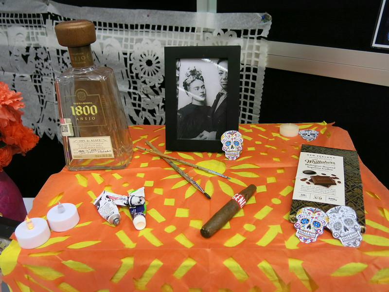 Dia de Muertos / Day of the Dead altar and informational display at South Library