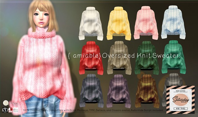 "{amiable}""SATADAY SALE"" {amiable}Oversized Knit Sweater@the main store."