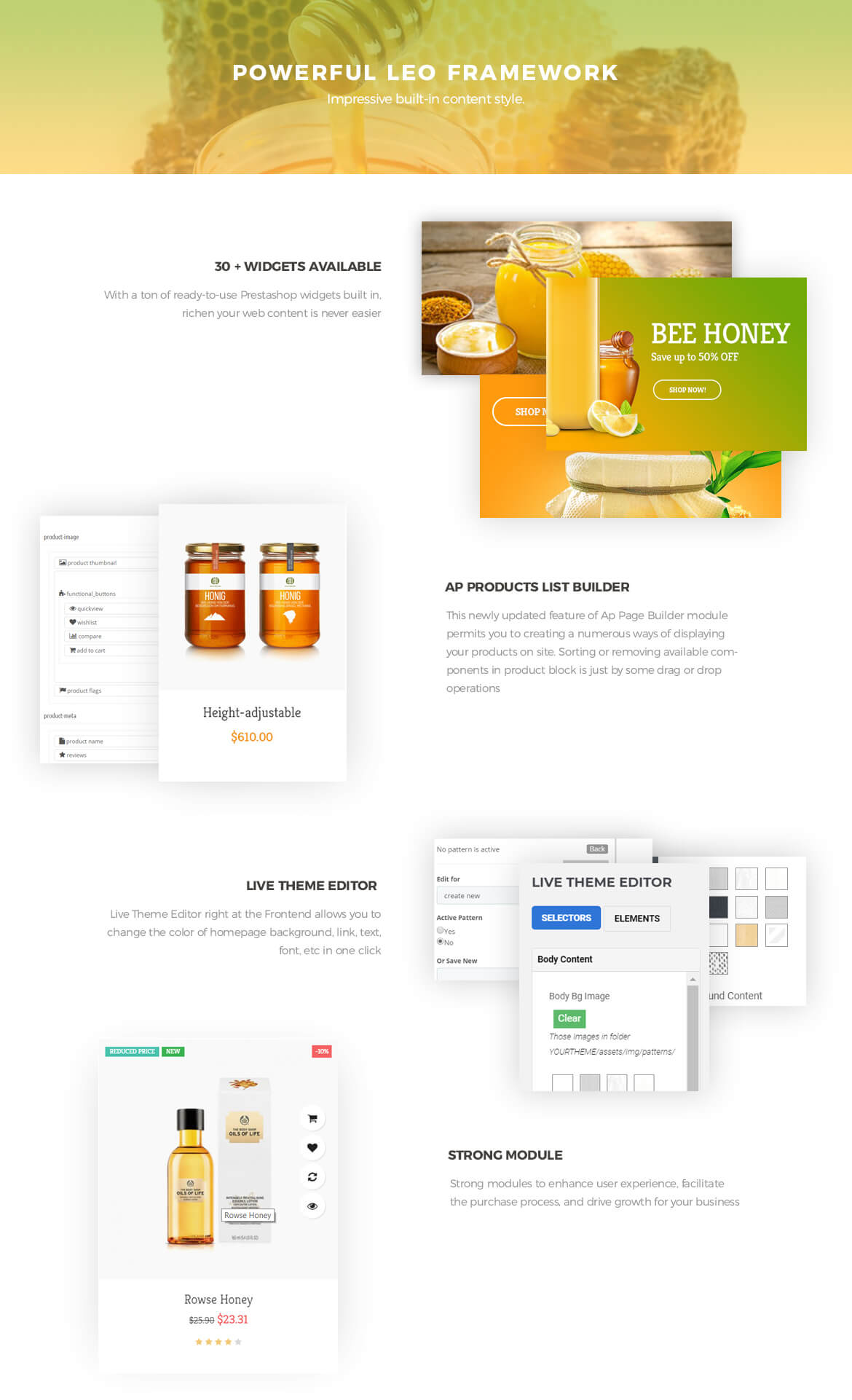 powerful prestashop framework - Bos Ocbee prestashop theme - honey, food, beauty store