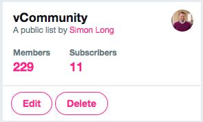 vCommunity Twitter List