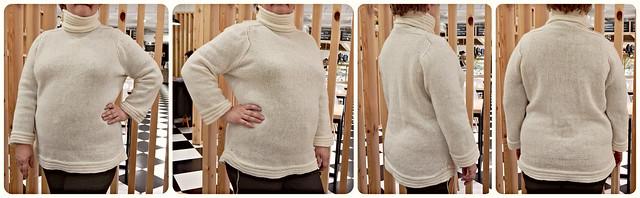 Белый свитер с плечом-погоном по инструкции Элизабет Циммерман | HoroshoGromko.ru