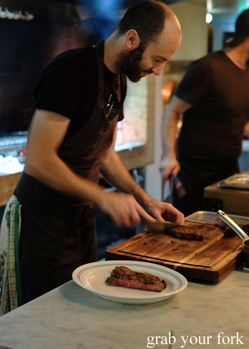 Deboning and slicing the bistecca alla fiorentina at Bistecca Sydney