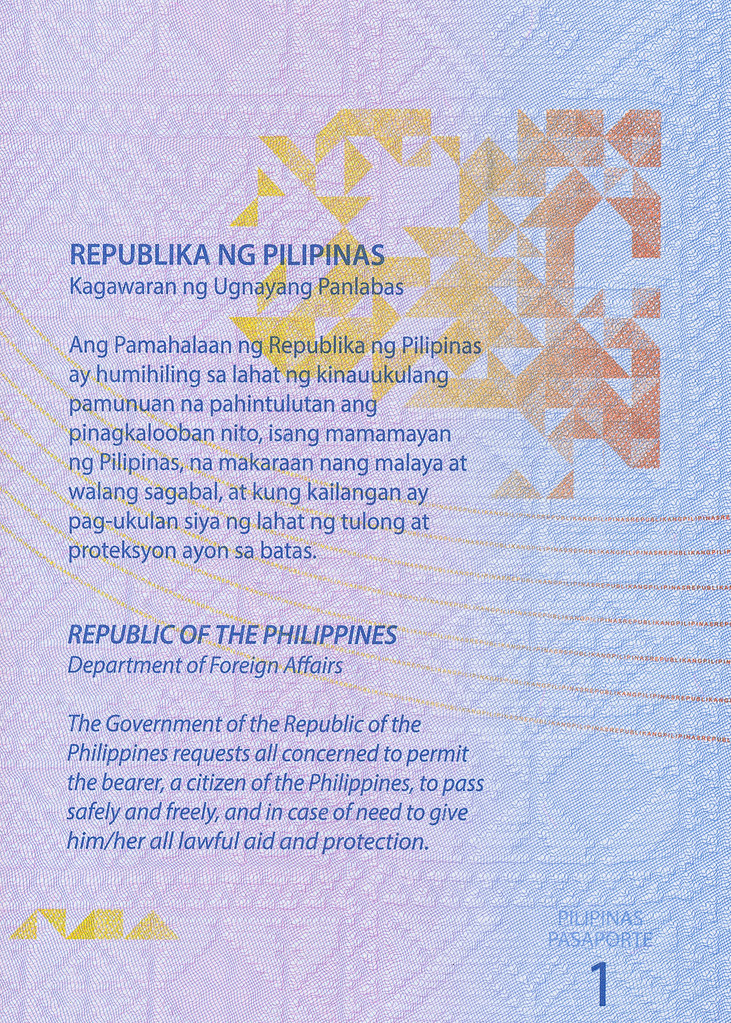 Republic of the Philippines - Philippine Passport - Page 1