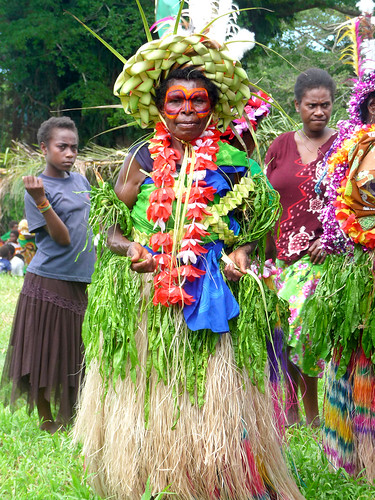 local Tannese woman dressed up in kastom (custom dress) to take part in a special john Frum celebration in honour of the king of Tanna