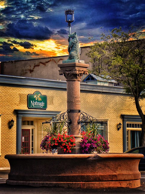 Geneseo - New York - The Bear Fountain sits in the center of Geneseo village's main street.