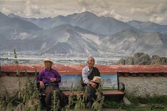 Old Tibetan couple- བོད་པ་, Drepung Monastery, 哲蚌寺, Tibet, China