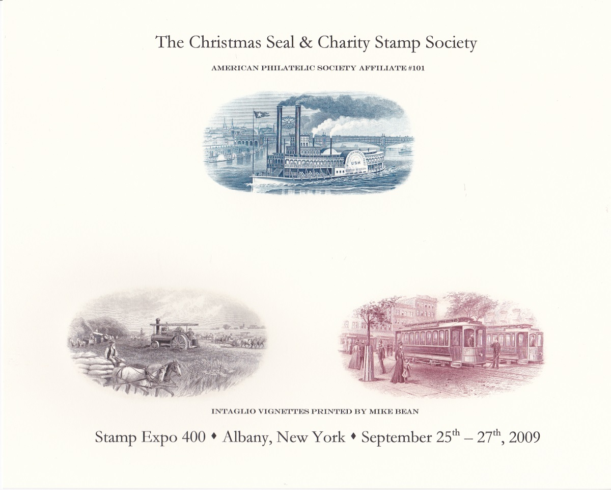 Souvenir card with three intaglio-printed vignettes produced for Stamp Expo 400 in Albany, New York in September 2009.