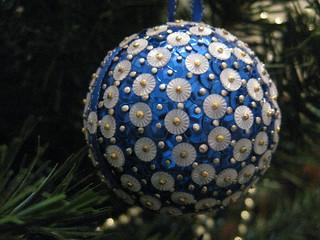 """Hand Beaded Royal Blue """"Éclat de Soleil"""" Christmas Bauble"""