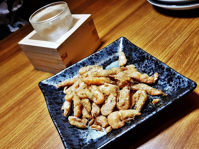 Kawa Ebi Karaage / Deep-Fried River Shrimp & Sake Gekkeikan