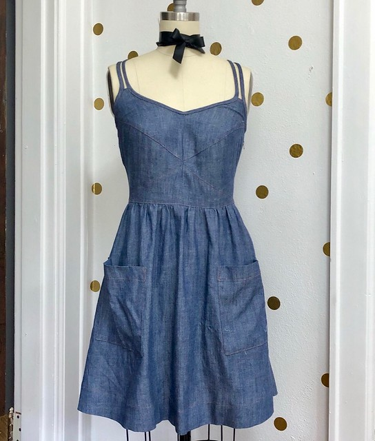 Deer & Doe Centaurée dress made with denim from Mood Fabrics