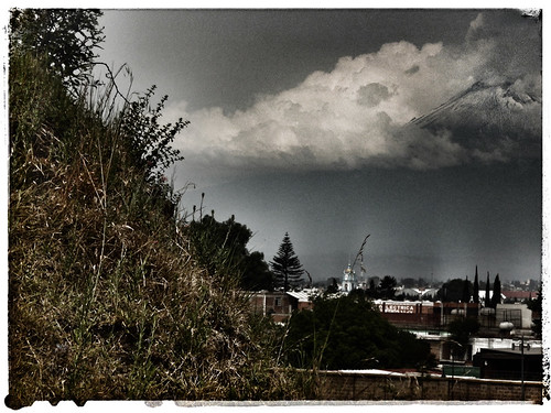 Photo of volcano in Cholula , Mexico, run through the drama filter photo app Snapseed