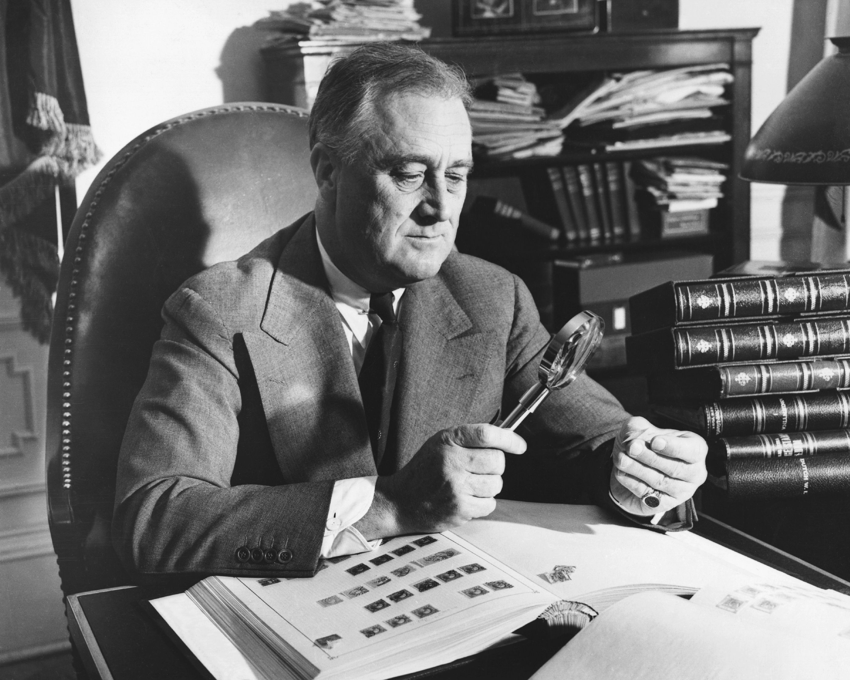 Philatelist-In-Chief: U.S. President Franklin D. Roosevelt was an avid stamp collector and had a hand in designing most stamps issued by the United States during his administration (1933-1945). He is quoted as saying,