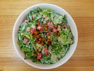 Caesar Salad with Herb Roasted Chickpeas