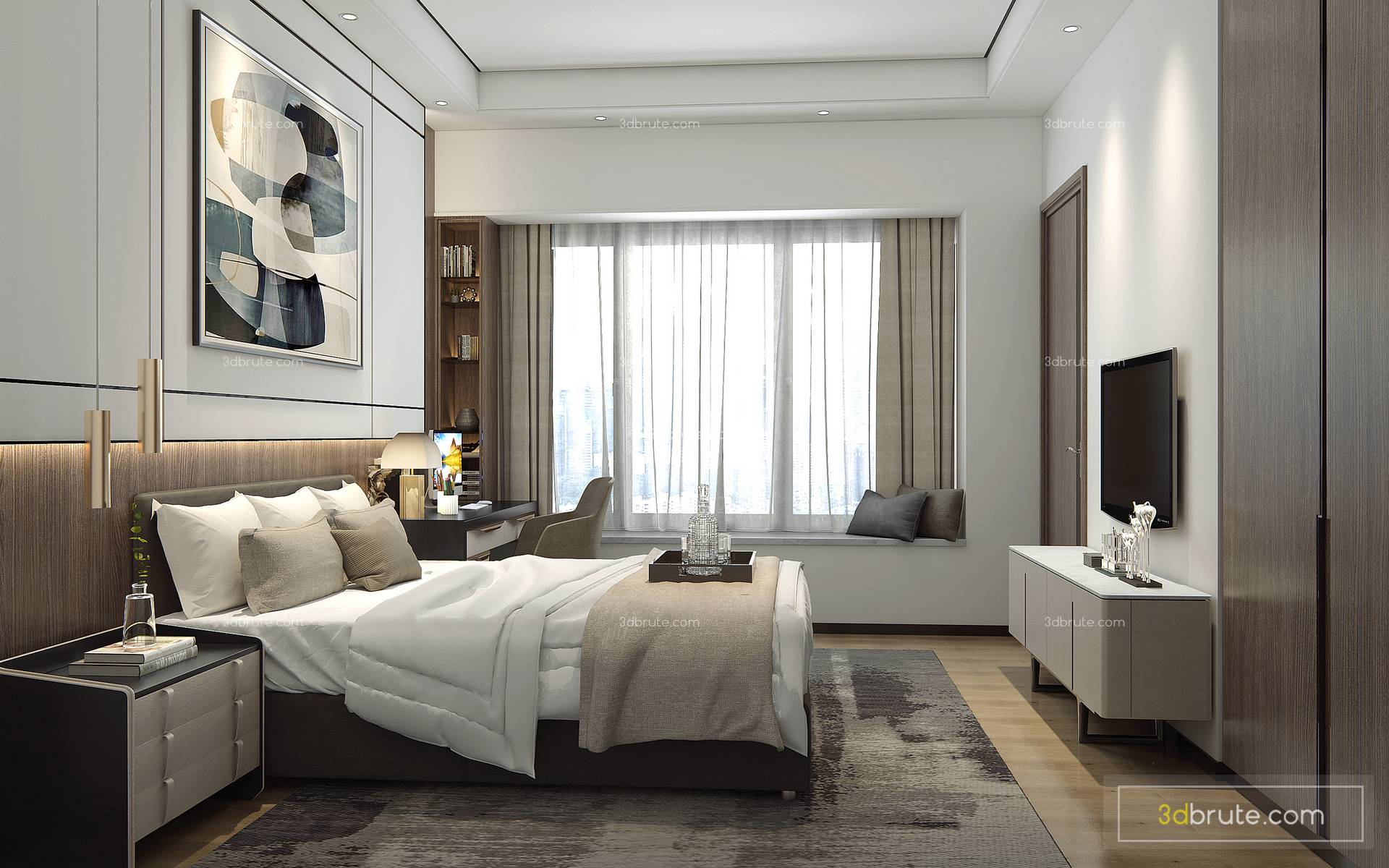 . Sell Modern bedroom collection 3dmodel   Download  3d Models Free  3dbrute