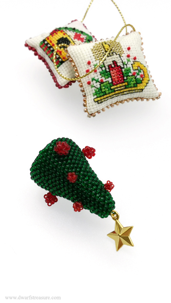 One of a kind beaded Christmas tree ornament